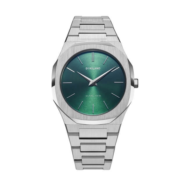 ディーワンミラノ D1 MILANO Ultra Thin Gems Collection Emerald Green Soleil dial with stainless steel bracelet 腕時計 メンズ