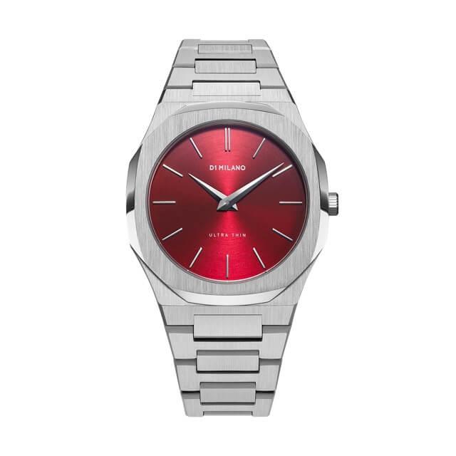 ディーワンミラノ D1 MILANO Ultra Thin Gems Collection Ruby Red Soleil dial with stainless steel bracelet 腕時計 メンズ