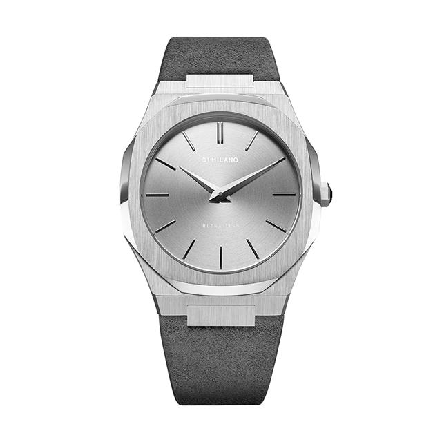 ディーワンミラノ D1 MILANO Ultra Thin Silver Case with Milano grey Suede Strap 腕時計 メンズ レディース