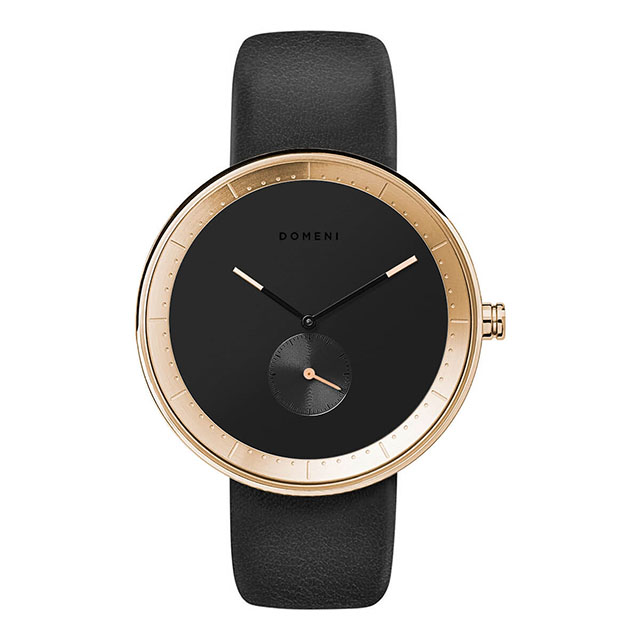 ドメニ コー DOMENI CO gll02 40mm シグニチャーシリーズ - ブラック レザー 腕時計 時計 メンズ