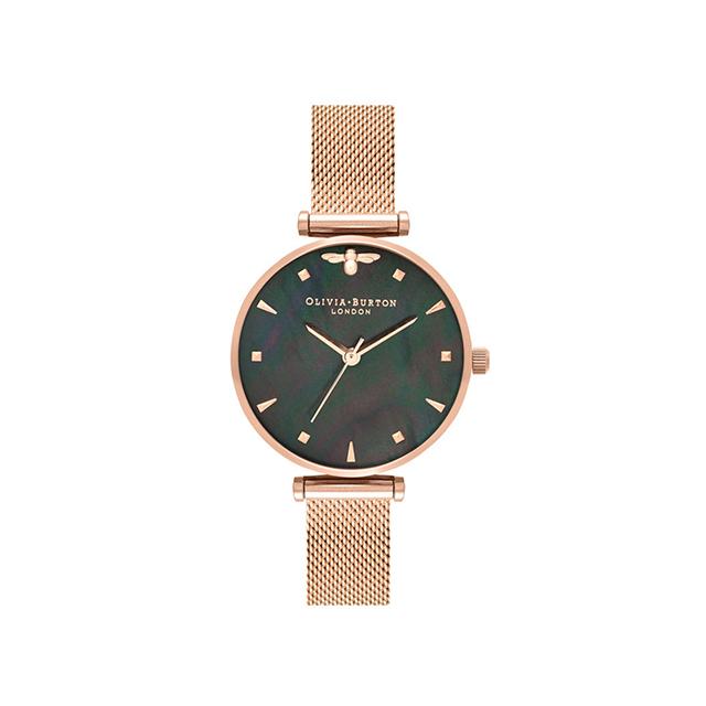 オリビアバートン レディース 腕時計 時計 Olivia Burton クイーンビー ブラックマザーオブパール ローズゴールドメッシュ