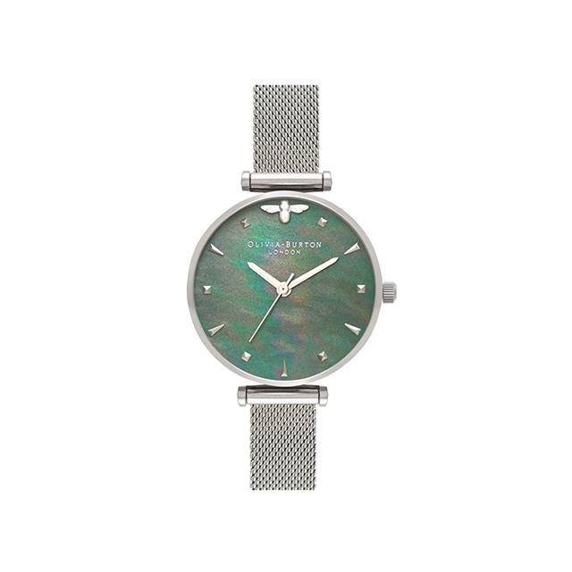 オリビアバートン レディース 腕時計 時計 Olivia Burton クイーンビー ブラックマザーオブパール シルバーメッシュ