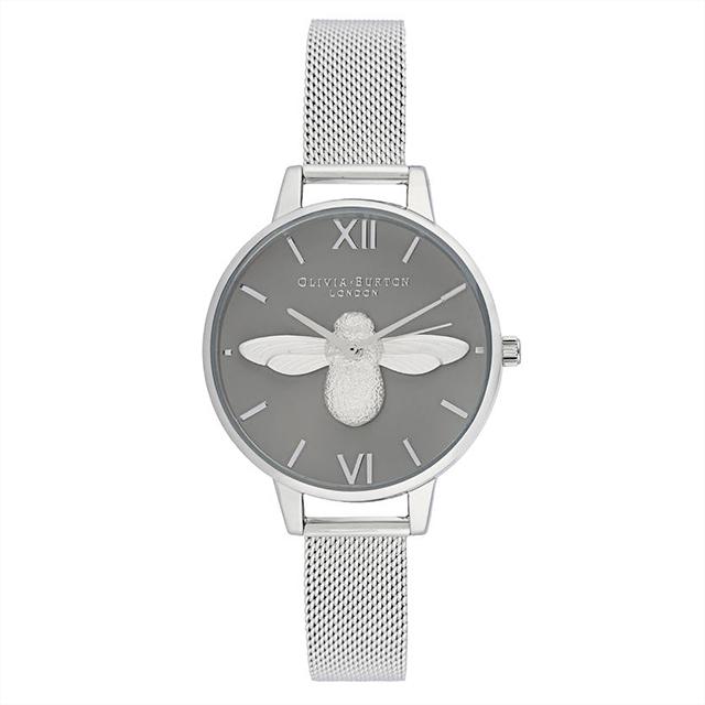オリビアバートン レディース 腕時計 時計 Olivia Burton 3Dビー デミ グレイ ダイヤル シルバー メッシュ