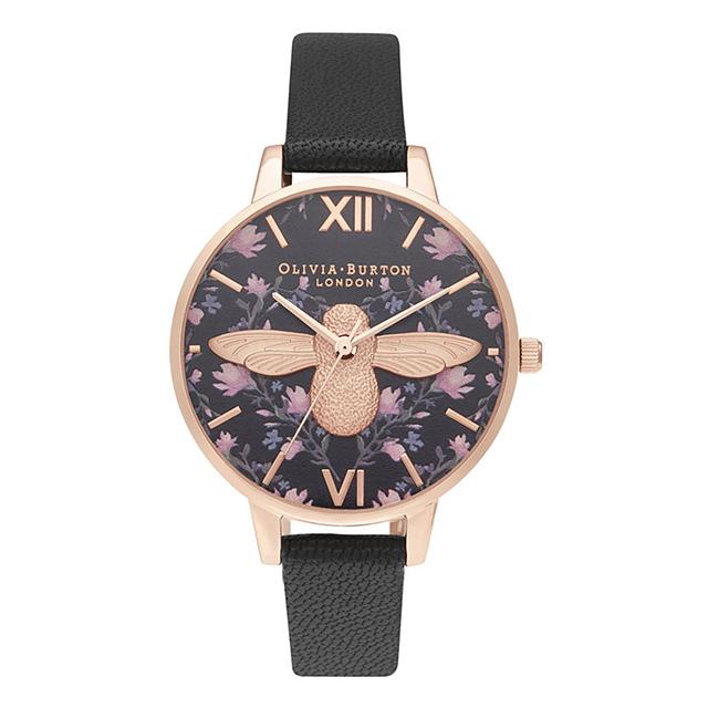 オリビアバートン レディース 腕時計 時計 Olivia Burton ミント トゥ ビー デミ 3D ブラック & ローズゴールド