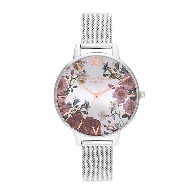 オリビアバートン レディース 腕時計 時計 Olivia Burton ブリティッシュブルーム - ローズゴールド & シルバー メッシュ