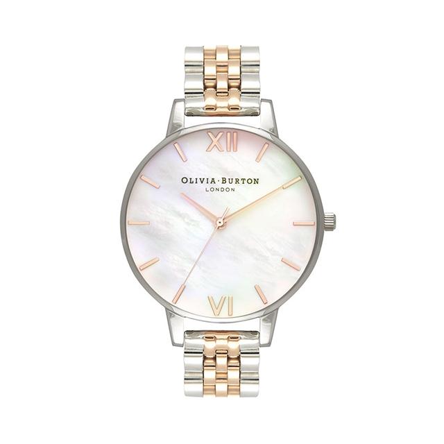 オリビアバートン レディース 腕時計 時計 Olivia Burton ビッグ ホワイト マザーオブパール ローズ ゴールド & シルバー