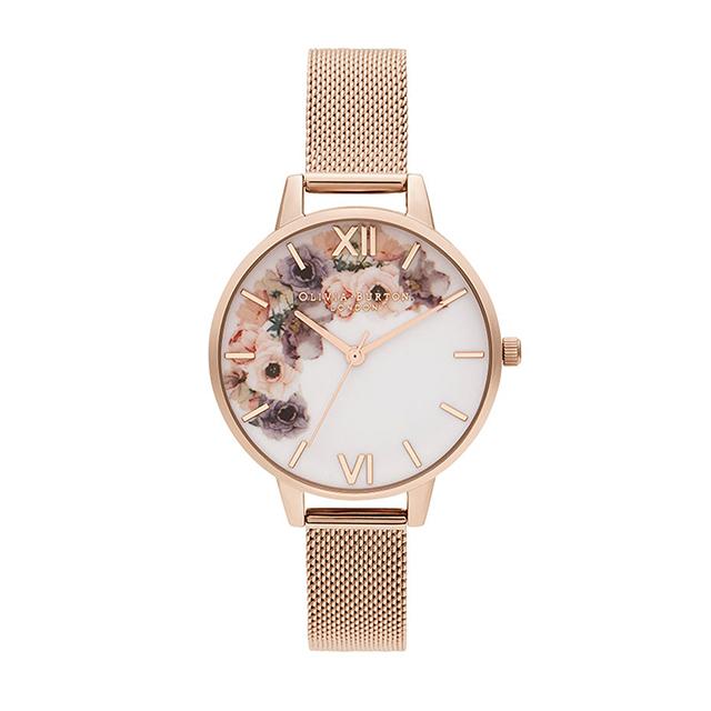 オリビアバートン レディース 腕時計 時計 Olivia Burton ウォーターカラーフローラル パール ローズゴールドメッシュ