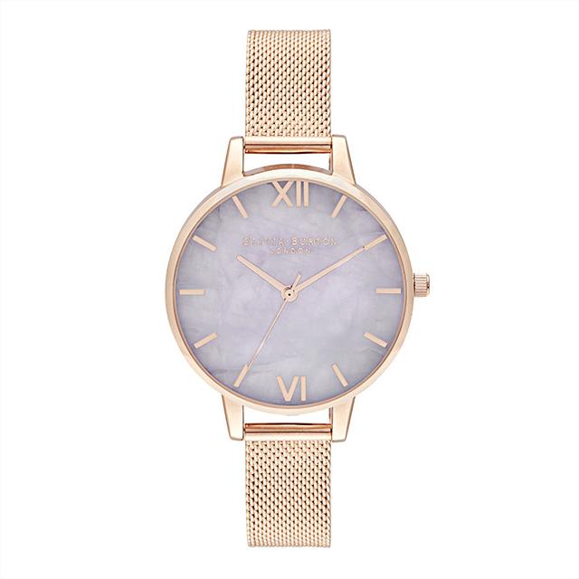 オリビアバートン レディース 腕時計 時計 Olivia Burton セミプレシャス デミ アメジスト ローズゴールド メッシュ