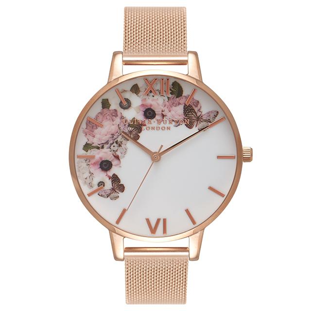 オリビアバートン レディース 腕時計 時計 Olivia Burton シグニチャー フローラル ローズゴールドメッシュ