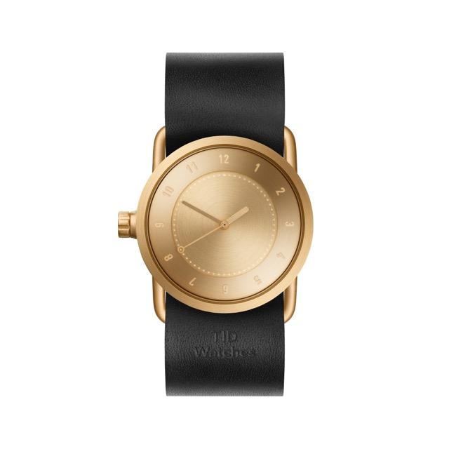 ティッド ウォッチ 時計 腕時計 【TID Watches】 No.1 Gold / Black Leather Wristband 33