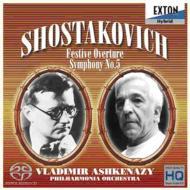 【送料無料】 Shostakovich ショスタコービチ / 交響曲第5番、祝典序曲 アシュケナージ&フィルハーモニア管弦楽団(ダイレクト・カットSACD) 【SACD】