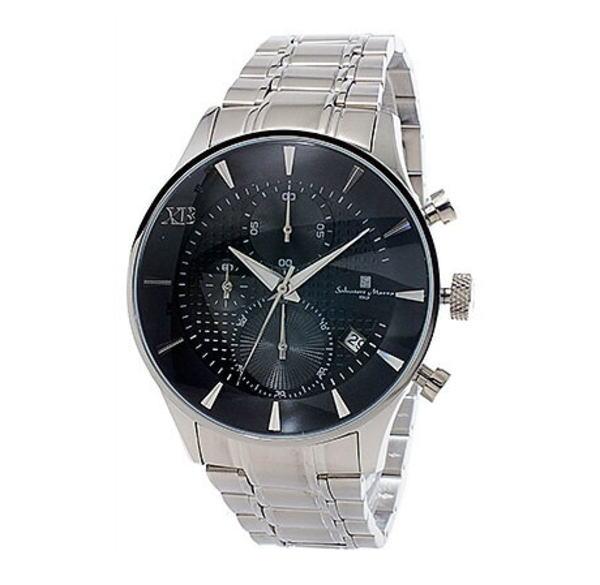 サルバトーレマーラ XB メンズ クロノ 腕時計 SMXB-001SS-SSBK ブラック文字盤 ステンレスベルト