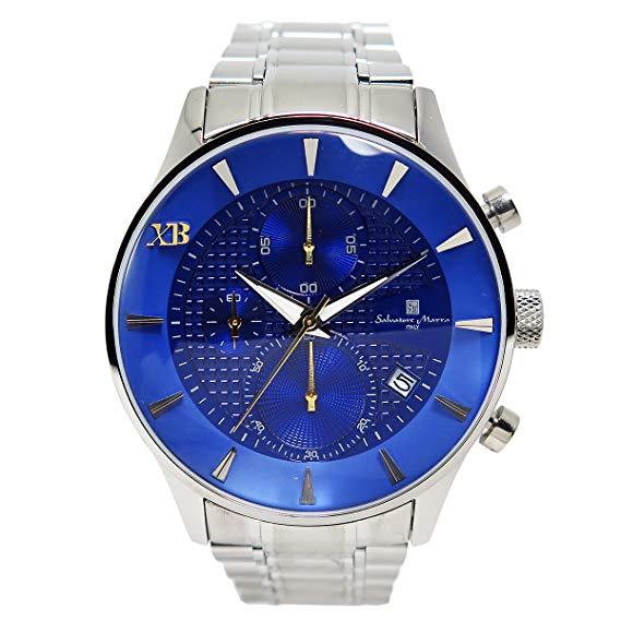 サルバトーレマーラ XB メンズ クロノ 腕時計 SMXB-001SS-SSBL ブルー文字盤 ステンレスベルト