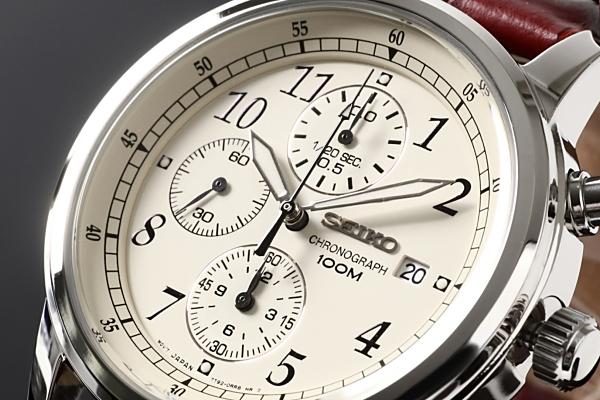 セイコー SEIKO 腕時計 クロノグラフ アイボリー文字盤 SNDC31P1