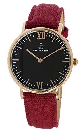 キャプテン&サン KAPTEN&SON 36mm ブラック/ボルドーキャンバス レディース 腕時計 SV-KS36BKBC