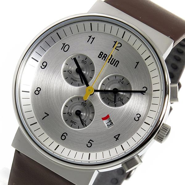 ブラウン BRAUN クロノ クオーツ メンズ 腕時計 BN0035SLBRG シルバー