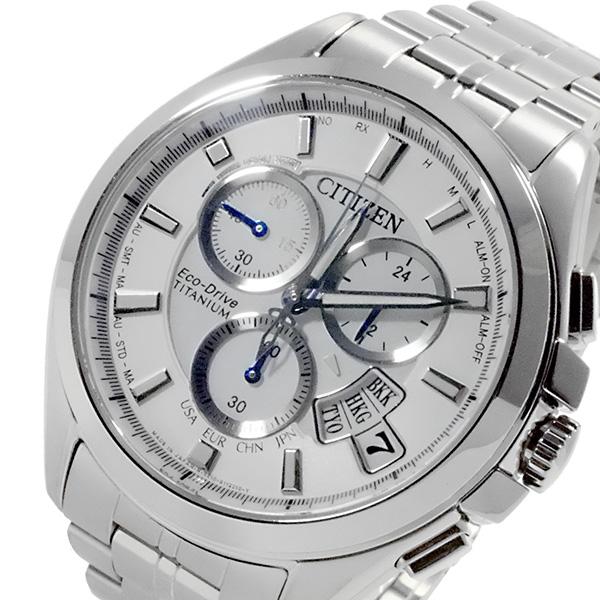 シチズン CITIZEN エコドライブ チタン メンズ 電波 クロノ 腕時計 BY0051-55A