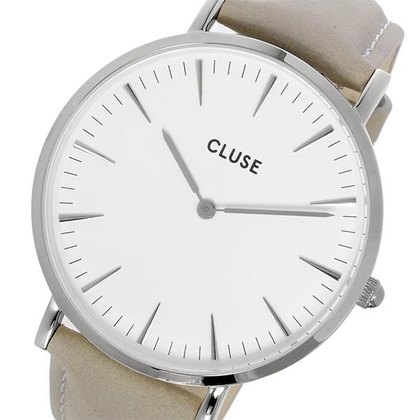 クルース CLUSE ラ・ボエーム レザーベルト 38mm レディース 腕時計 CL18215 ホワイト/グレー