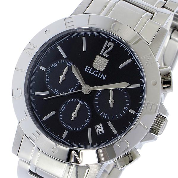 エルジン ELGIN クロノ クオーツ メンズ 腕時計 FK1409S-B ブラック