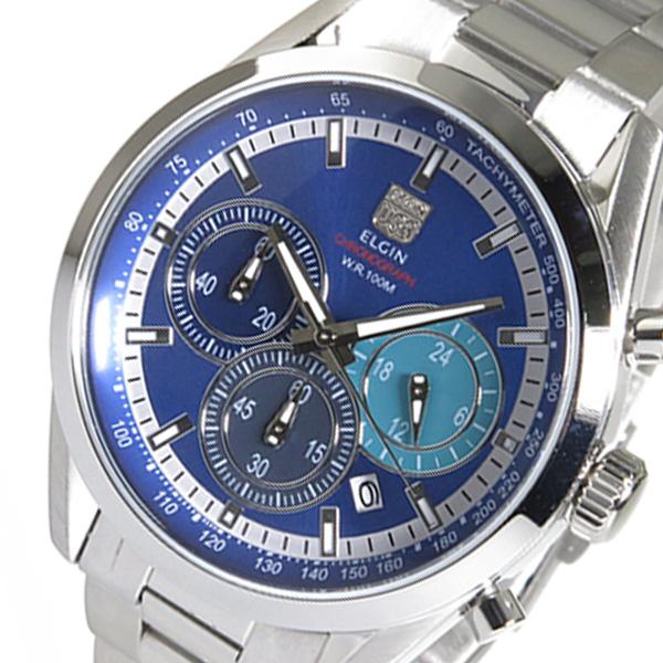 エルジン ELGIN クロノ クオーツ メンズ 腕時計 FK1411S-BL ブルー