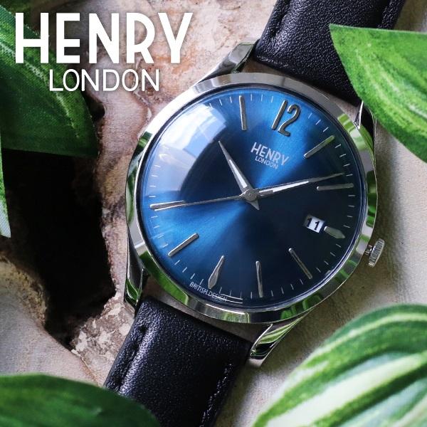 ヘンリーロンドン HENRY LONDON ナイツブリッジ 39mm ユニセックス 腕時計 HL39-S-0031 ブルー/ブラック