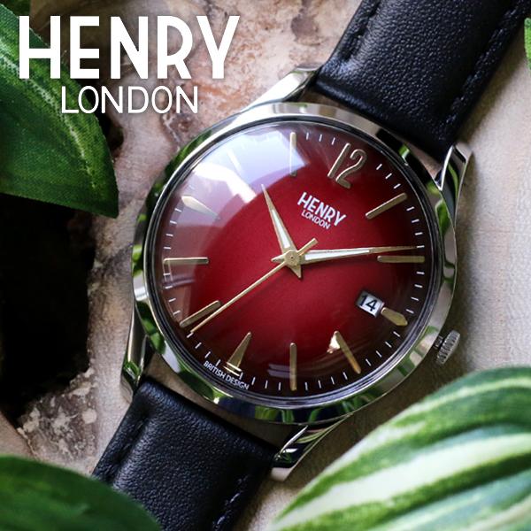 ヘンリーロンドン HENRY LONDON チャンセリー 39mm ユニセックス 腕時計 HL39-S-0095 レッド/ブラック