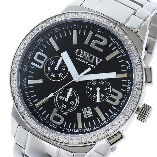 オクシブ OXXIV クロノ クオーツ メンズ 腕時計 OX24-BK ブラック/シルバー