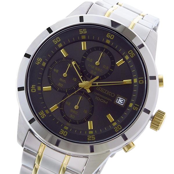 セイコー SEIKO クロノ クオーツ メンズ 腕時計 SKS565P1 ブラック/ゴールド