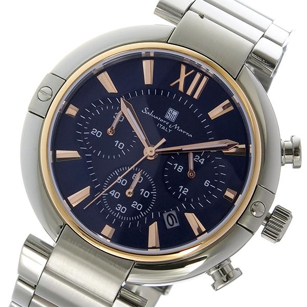 サルバトーレマーラ クロノ クオーツ メンズ 腕時計 SM17106-PGBL ダークブルー/ピンクゴールド