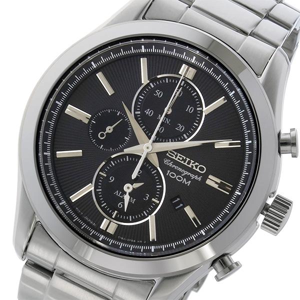 セイコー SEIKO クロノ クオーツ メンズ 腕時計 SNAF67P1 ブラック