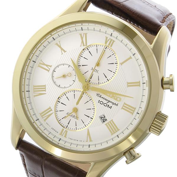 セイコー SEIKO クロノ クオーツ メンズ 腕時計 SNAF72P1 ホワイト
