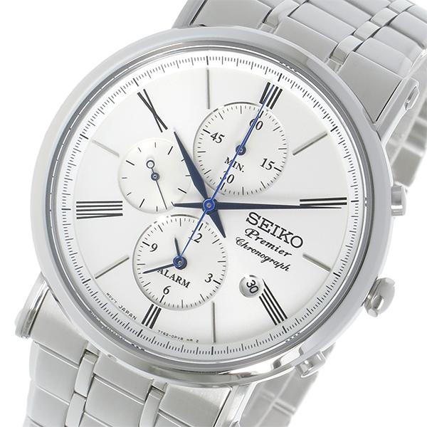 セイコー SEIKO プルミエ Premier クロノグラフ クオーツ メンズ 腕時計 SNAF73P1 ホワイト
