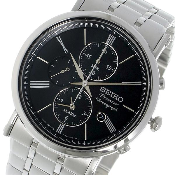 セイコー SEIKO プルミエ Premier クロノグラフ クオーツ メンズ 腕時計 SNAF75P1 ブラック