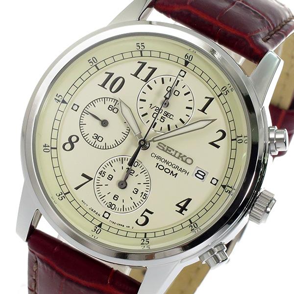 セイコー SEIKO クロノ クオーツ メンズ 腕時計 SNDC31P1 アイボリー