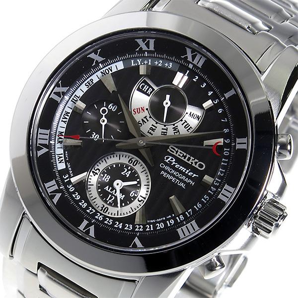 セイコー SEIKO プルミエ クロノ クオーツ メンズ 腕時計 SPC161P1 ブラック