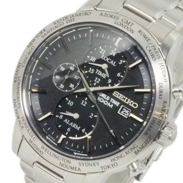 セイコー SEIKO ワールドタイム アラーム GMT メンズ 腕時計 SPL049P1 ブラック