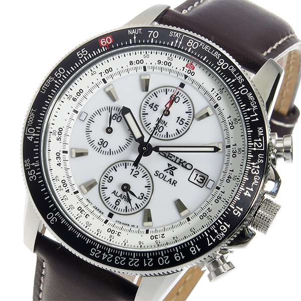 セイコー SEIKO クロノグラフ アラーム 腕時計 SSC013P1 ホワイト