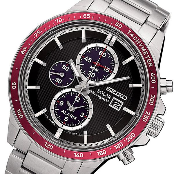 セイコー SEIKO クロノ ソーラー クオーツ メンズ 腕時計 SSC433P1 ブラック