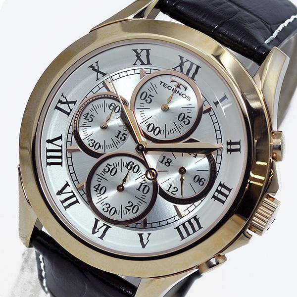 テクノス TECHNOS クオーツ メンズ クロノ 腕時計T4345PS シルバー