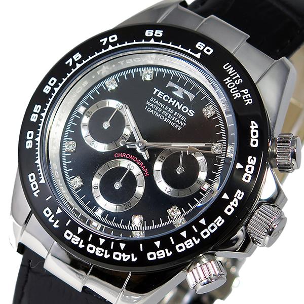 テクノス TECHNOS クオーツ メンズ クロノ 腕時計 T4392LT ブラック