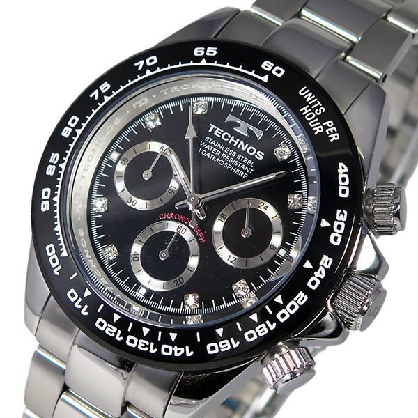 テクノス TECHNOS クオーツ メンズ クロノ 腕時計 T4392TB ブラック