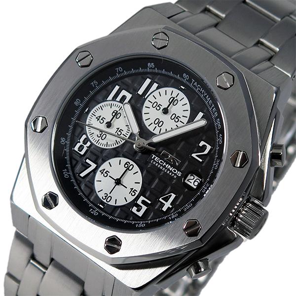 テクノス TECHNOS クオーツ メンズ クロノ 腕時計 T4393SB ブラック