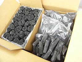 バーベキュー・火鉢・囲炉裏・燃料用 木炭黒炭&白炭 バリューセット椚黒炭3kg、備長炭3kg 合計6kg あす楽