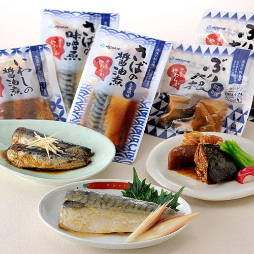 【レンジで簡単手間いらず】骨までやわらか煮ざかなセットぶり、さば、いわしなど5品目 20食セット!