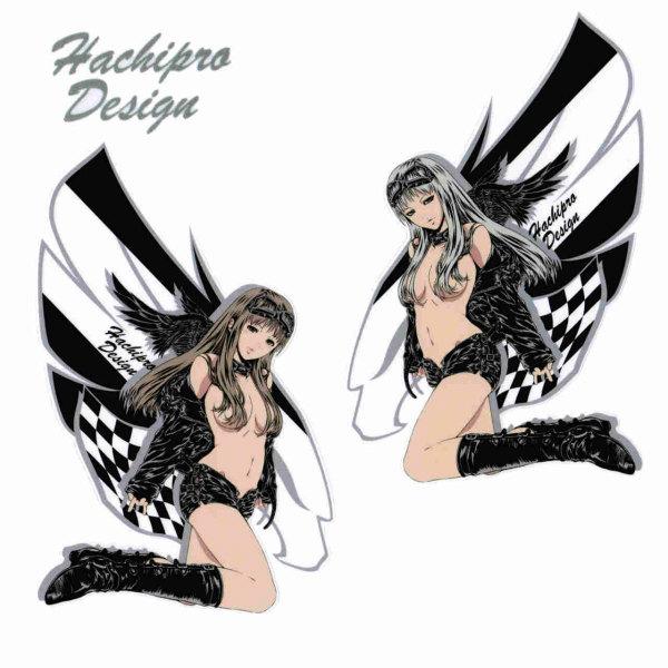 Hachipro Design ハチプロデザイン HPG-001L ブラックウイングガール 大判 3×3サイズステッカー 左右バラ売りバイク・車・デカール・シール 05P05Nov16