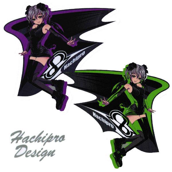 Hachipro Design ハチプロデザイン HPK-001 新☆カワサキたん 3×3サイズステッカー 左右セットバイク・車・デカール・シール・KAWASAKI・川崎 05P05Nov16