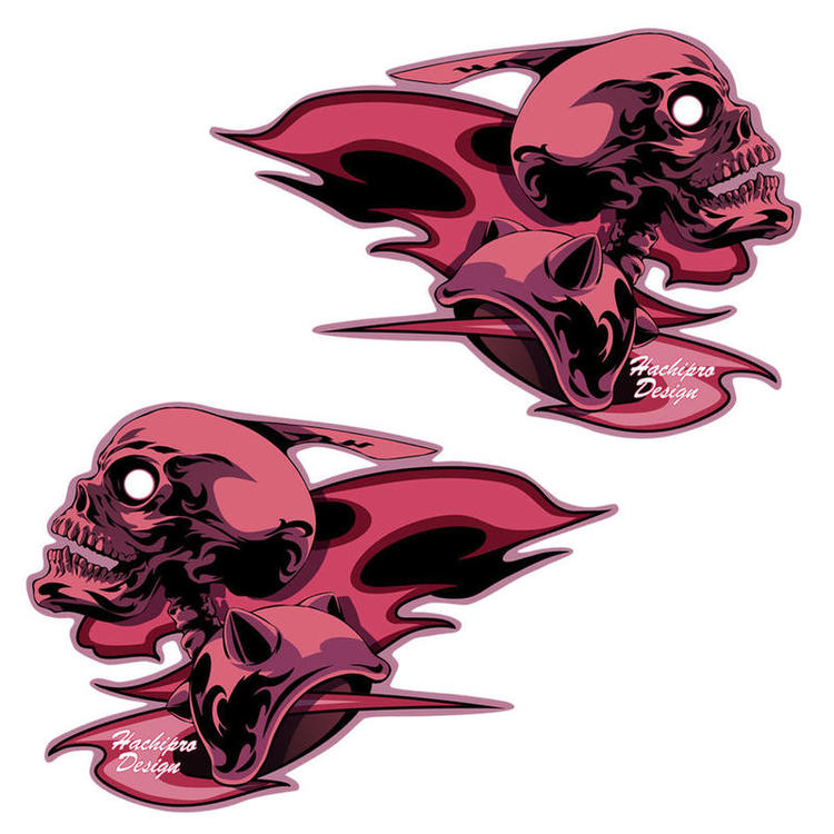 Hachipro Design dictate design skull frame sticker bike, car, decals, seal and skull and skeleton and flame and flare pattern, tribal