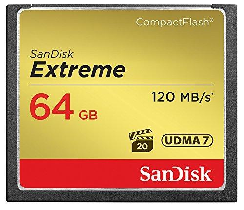 フラッシュカード CF(コンパクトフラッシュ) 64GB SANDISK SDCFXSB-064G-G46 EXTREME 800倍速(R=120MB/s W=85MB/s) 英語NEWパッケージ 1年保証