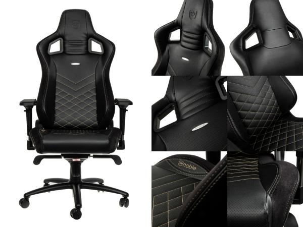 椅子 ゲーミングチェアー 合皮 Noblechairs NBL-PU-GOL-003 ゲーミングチェアー 金・黒 JANコード:4251442501150