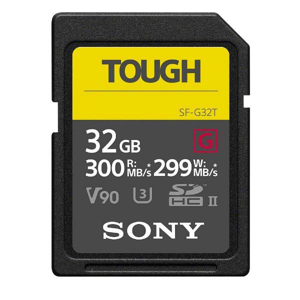 フラッシュカード SDカード UHS2(U3) 32GB SONY SF-G32T TOUGHシリーズ R=300MB/s w=299mb/s class10 UHS-(U3) 英語パッケージ JANコード:0027242908314 1年保証